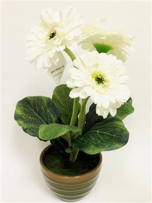 White gerbera silk flower arrangement pot laus flowers inc mightylinksfo