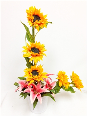 Stylish Sunflowers Tiger Lily Arrangement In White Ceramic Pot
