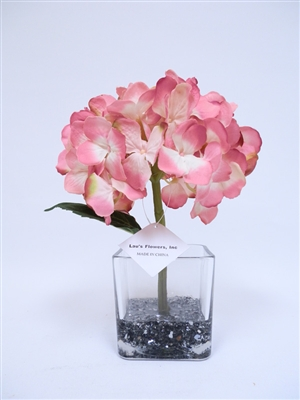 Get glass vase blue hydrangea silk flower arrangement mightylinksfo